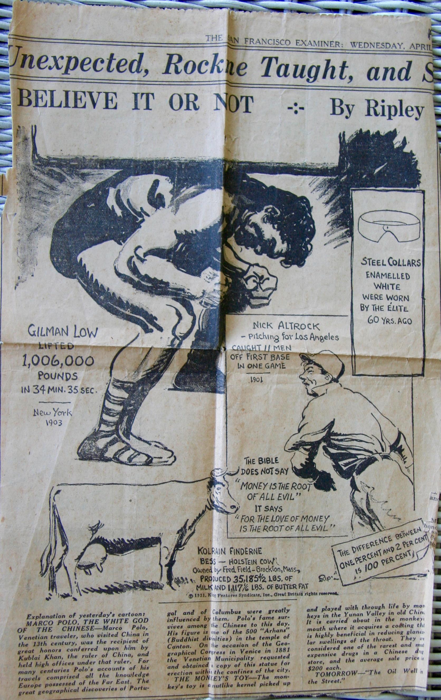 Cartoon of Gilman Low in Ripley's Believe It or Not