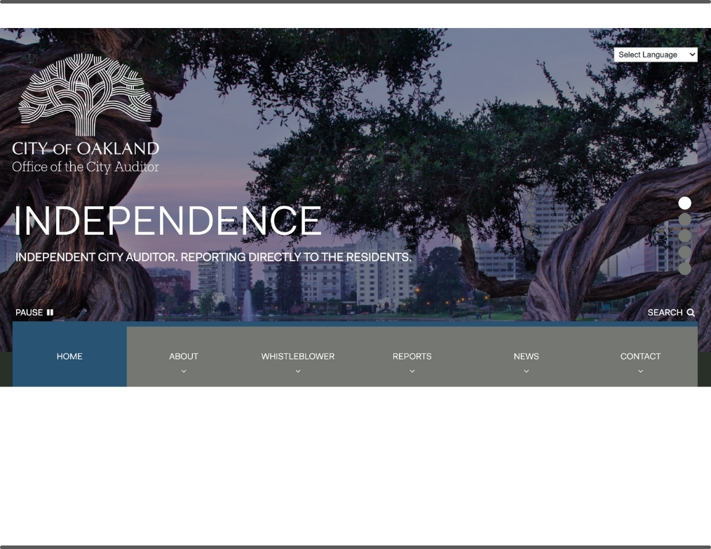 City of Oakland, Office of the City Auditor home page